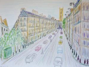 Rue Rivoli_,Paris,Atelierstipendium, Albert Mauerhofer, Astrid Amadeo, Urban Sketching
