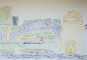 Pont Metro Gare Austerlitz_Paris,Atelierstipendium, Albert Mauerhofer, Astrid Amadeo, Urban Sketching