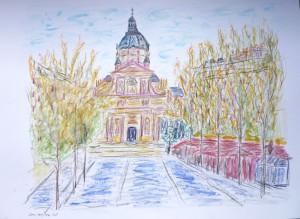 Place de Sorbonne, Paris, Albert Mauerhofer,urban sketching,astrid amadeo, astrid schmid, zeichnen in zurich