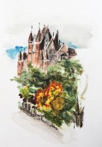 Bolliger Charlotte, Rotes Schloss am Bürkliplatz, Seehafen Enge, Zürich,Urban Sketching Samstag Morgen Astrid Schmid, Astrid Amadeo