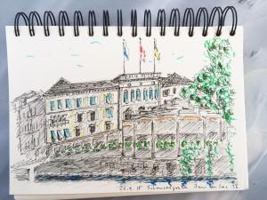 Leo Brunschwiler, Baur au Lac, Schanzengraben, Zürich,Urban Sketching Samstag Morgen Astrid Schmid, Astrid Amadeo