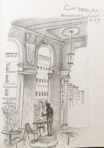 Gabriela Pomella, Restaurant Metropol, ZürichUrban Sketching Samstag Morgen Astrid Schmid, Astrid Amadeo