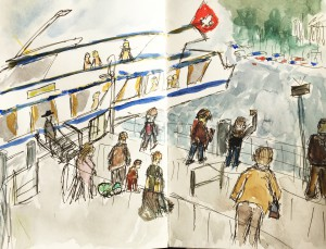 Bruno Lauper, Schiffsteg am Bürkliplatz, Zürich,Urban Sketching Samstag Morgen Astrid Schmid, Astrid Amadeo