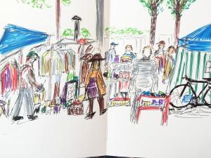 Bruno Lauper, Flohmarkt auf dem Bürkliplatz, Zürich,Urban Sketching Samstag Morgen Astrid Schmid, Astrid Amadeo