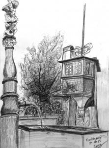 Cornelia Silaghi, Frankengasse_24.10.15,urban sketching,astrid amadeo, astrid schmid, zeichnen in zürich