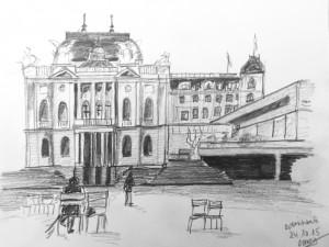 Cornelia Silaghi, Opernhaus_24.10.15,urban sketching,astrid amadeo, astrid schmid, zeichnen in zürich