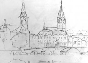 Limmatquai_24.10.15, urban sketching,astrid amadeo, astrid schmid, zeichnen in zürich