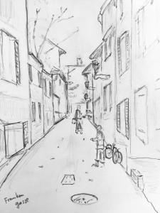 Walter Rüedlinger_Altstadtgasse Zürich_24.10.15,urban sketching,astrid amadeo, astrid schmid, zeichnen in zürich