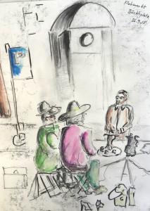 Walter Rüedlinger_Flohmarkt Bürkliplatz_26.9.15, urban sketching,astrid amadeo, astrid schmid, zeichnen in zürich