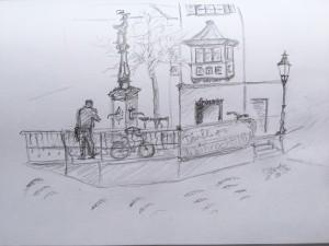 Brunnen an der Stüssihofstatt_21.11.15, samstag morgen,urban sketching,astrid amadeo, astrid schmid, zeichnen in zürich