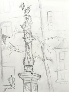 Brunnenfigur an der Stüssihofstatt_21.11.15, samstag morgen,urban sketching,astrid amadeo, astrid schmid, zeichnen in zürich