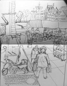 Bruno Lauper Gemüsebrücke_21.11.15, urban sketching,astrid amadeo, astrid schmid, zeichnen in zürich