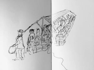 Bruno Lauper Gemüsestand_21.11.15, urban sketching,astrid amadeo, astrid schmid, zeichnen in zürich