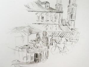 Charlotte_Gemüsebrücke_21.11.15, urban sketching,astrid amadeo, astrid schmid, zeichnen in zürich