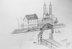 Storchen Anlegestelle mit Sicht aufs Grossmünster_Cornelia Silaghi_21.11.15, samstag morgen,urban sketching,astrid amadeo, astrid schmid, zeichnen in zürich