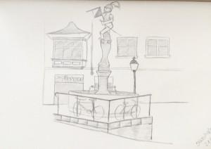 Stüssihofstatt_21.11.15,samstag morgen,urban sketching,astrid amadeo, astrid schmid, zeichnen in zürich