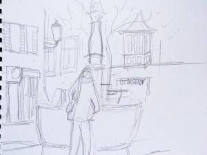 Stüssihofstatt_21.11.15, samstag morgen,urban sketching,astrid amadeo, astrid schmid, zeichnen in zürich