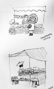 Vanessa W._Gemüsebrücke_21.11.15, urban sketching,astrid amadeo, astrid schmid, zeichnen in zürich