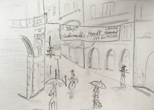 Walter Rüedlinger_Marktgasse vom Limmatquai_21.11.15, urban sketching,astrid amadeo, astrid schmid, zeichnen in zürich