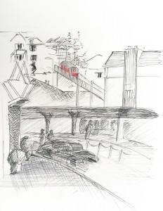 AA_Central im Januar16, urban sketching, zürich