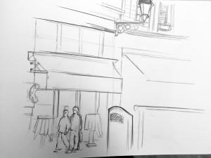 astrid amadeo, Stüssihofstatt, Zürich, urban sketching, Zeichnen am Samstag Morgen in Zürich,