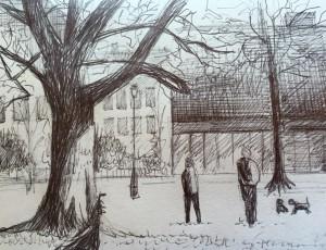 Urban Sketching, Samstag Morgen, Zürich, Astrid Amadeo, Bäckeranlage