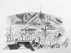 Cornelia Silaghi_Aussicht Polyterrasse, ETH,urban sketching