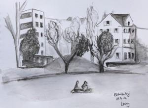 Urban Sketching, Samstag Morgen, Zürich, Astrid Amadeo, Cornelia Silaghi_Bäckeranlage