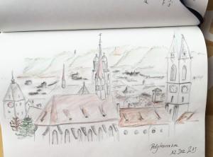 Gabriella Pomella_Ausblick Polyterrasse ETH Zürich,urban sketching