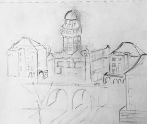 Ausblick von der Polyterrasse,ETH,urban sketching