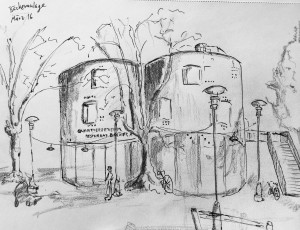 Walter Rüedlinger_Bäckeranlage,Astrid Amadeo,urban sketching,Zürich Samstag Morgen