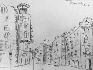 Walter Rüedlinger_StauffacherstrasseAstrid Amadeo,urban sketching,Zürich Samstag Morgen