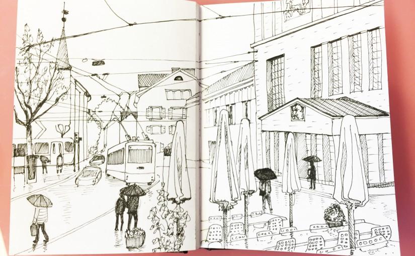Simone Schauwecker_Kunsthausplatz, Zürich Urban Sketching