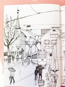 vor dem Kunsthausrestaurant,16.4.16 Zürich Urban Sketching