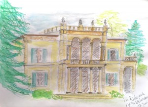 Gabriela Pomella,Villa Wesendonk,astrid amadeo,urban sketching, Zeichnen am Samstag Morgen in Zürich