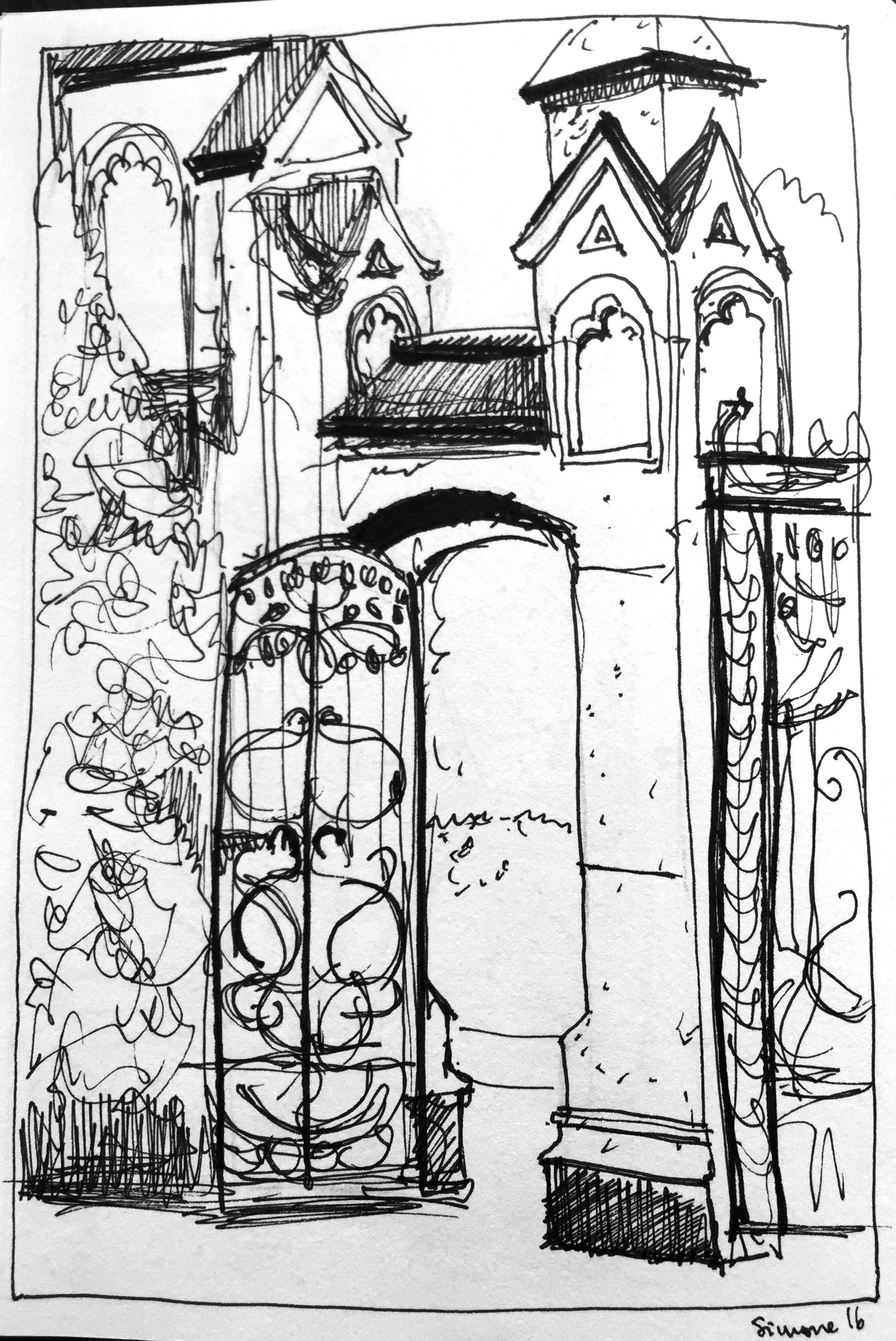 Simone Schauwecker_Villa Eglig Tor,astrid amadeo,urban sketching, Zeichnen am Samstag Morgen in Zürich,