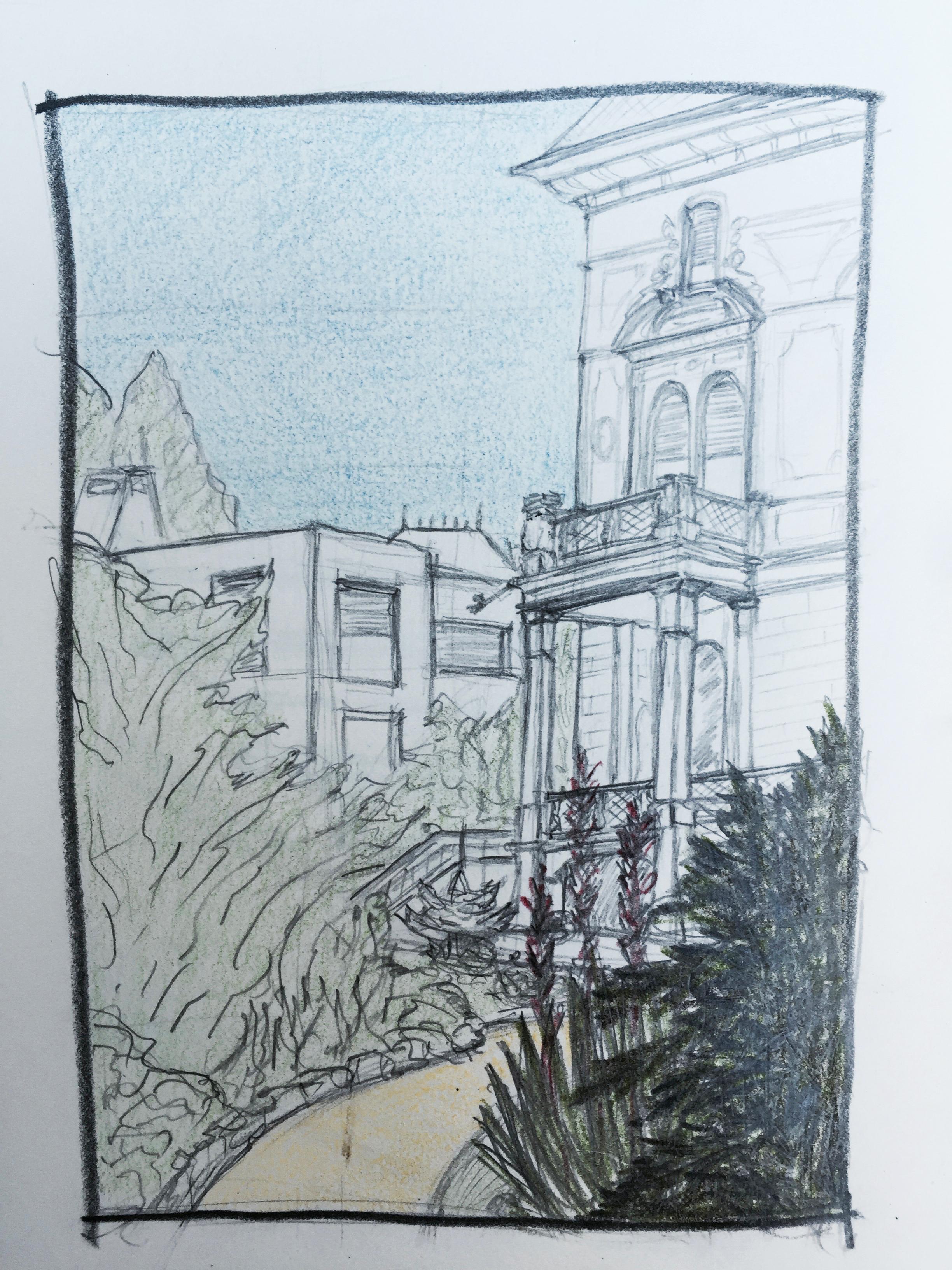 Carolin Schmidt, Villa Patumbah,Astrid Amadeo, Urban Sketching, Blog, Astrid Schmid, Zeichnen in Zürich