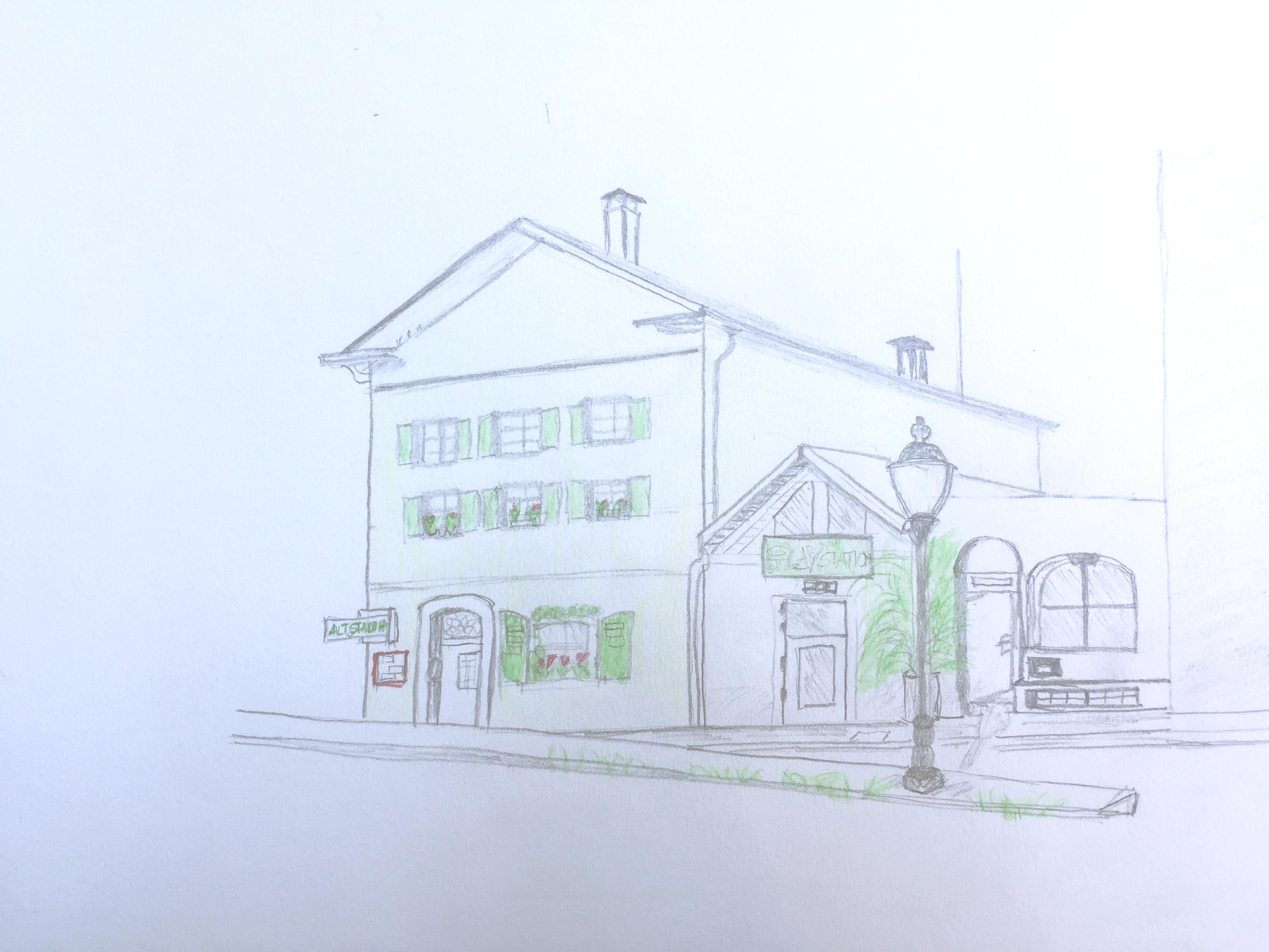 Chris Vonlanthen, Altstadthaus, Astrid Schmid, Sommerkurs Urban Sketching 2016