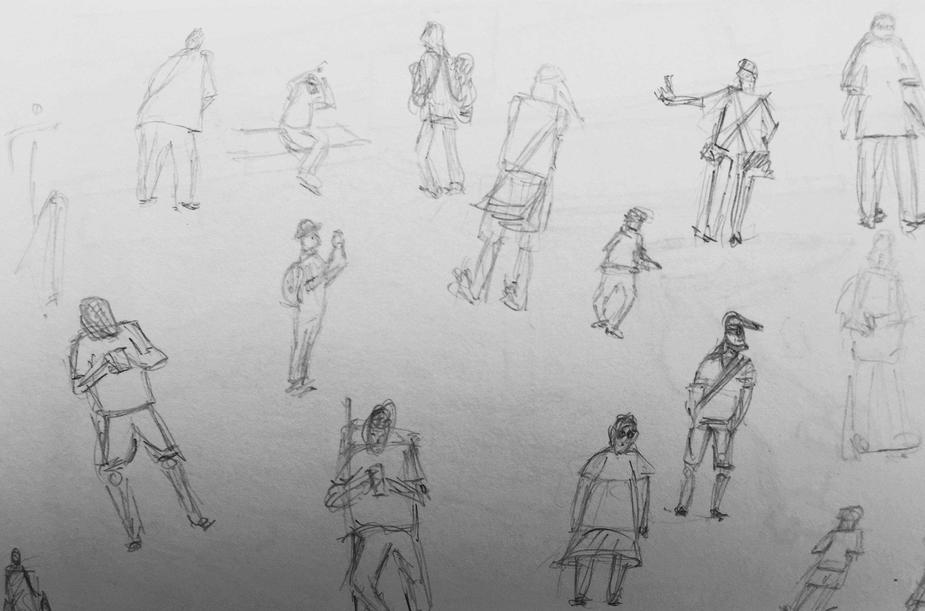Chris Vonlanthen, Menschenstudien, Sommerkurs, Urban Sketching, Astrid Schmid