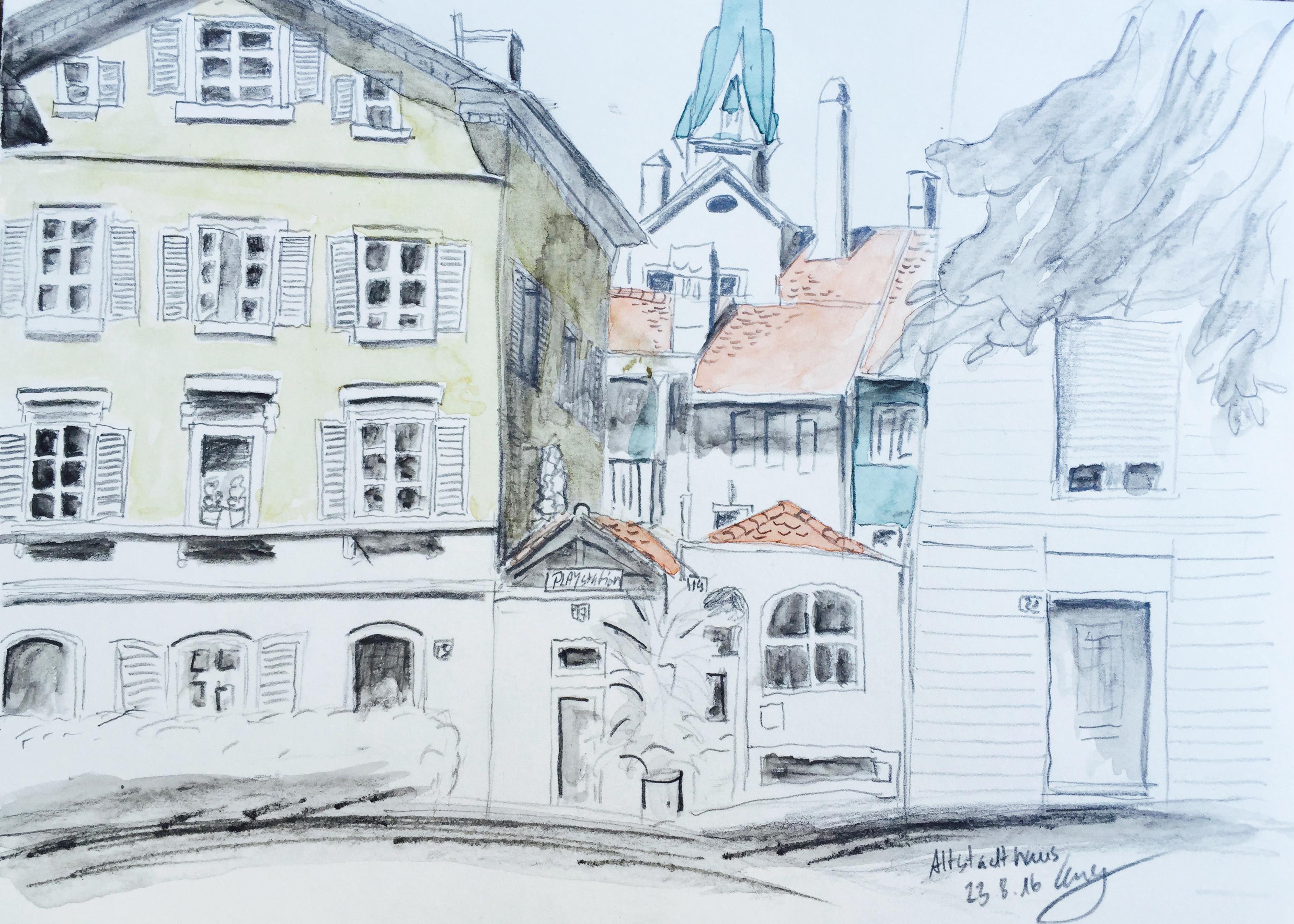 Caroline Cornelia Silaghi, Altstadthaus, Zürich,Sommerkurs,Astrid Amadeo, Urban Sketching, Blog