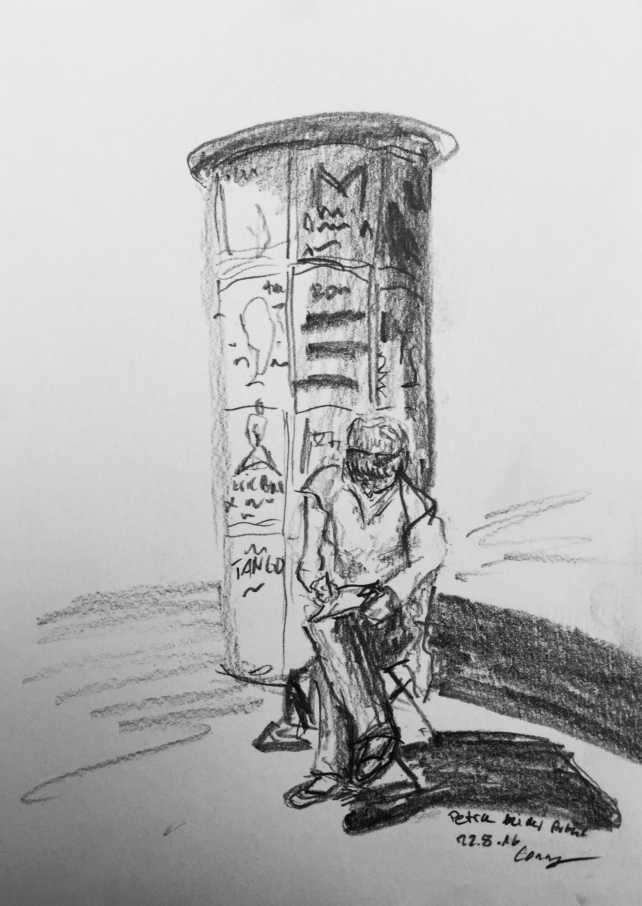 Cornelia Silaghi,Petra Palm am zeichnen,Urban Sketching, 2016, Sommerkurs