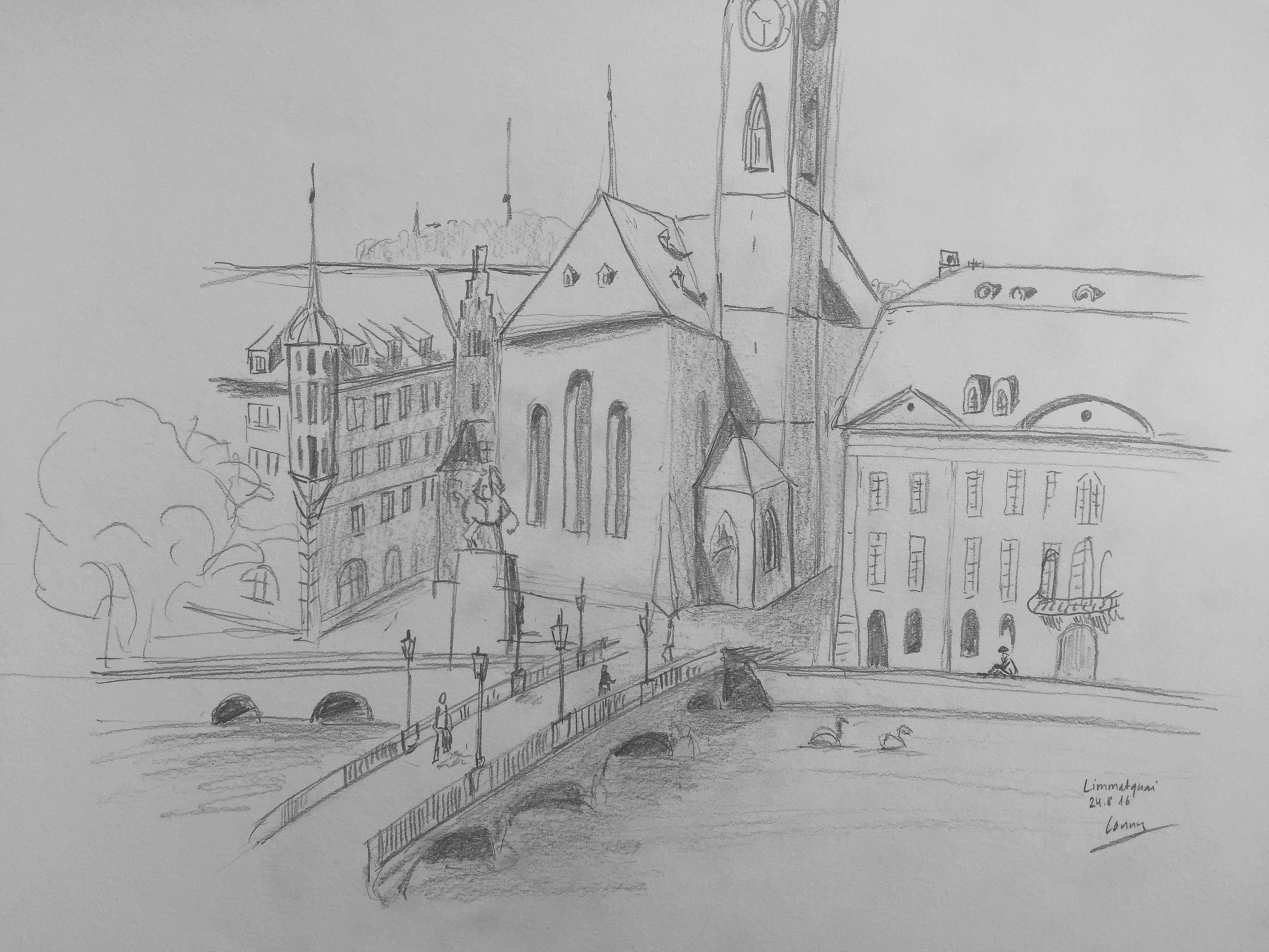 CaCornelia Silaghi, Stadthausbruecke, Zürich,Sommerkurs,Astrid Amadeo, Urban Sketching, Blog