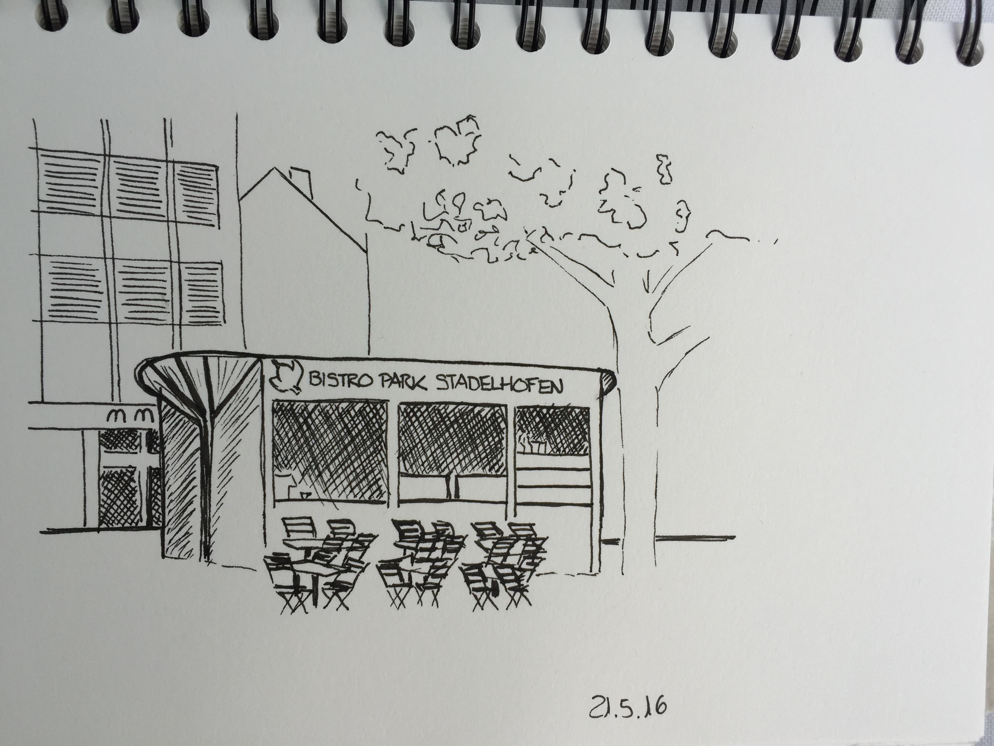 Petra Palm, Park Stadelhofen, Stadelhofen,Astrid Amadeo, Urban Sketching, Blogg,