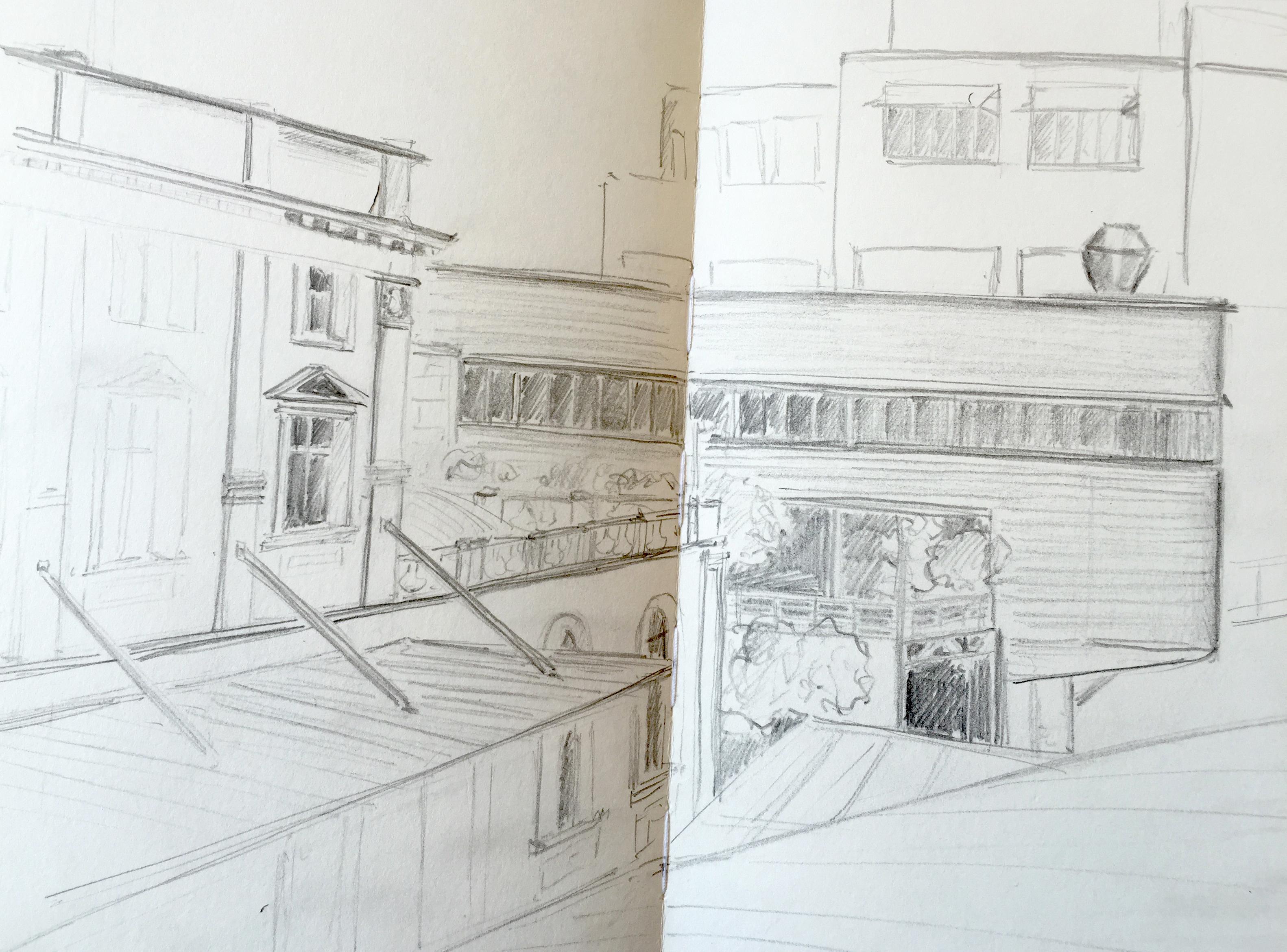 Ruth Jordi, Gebaude um den Bahnhof Stadelhofen, Astrid Amadeo, Urban Sketching, Blogg,