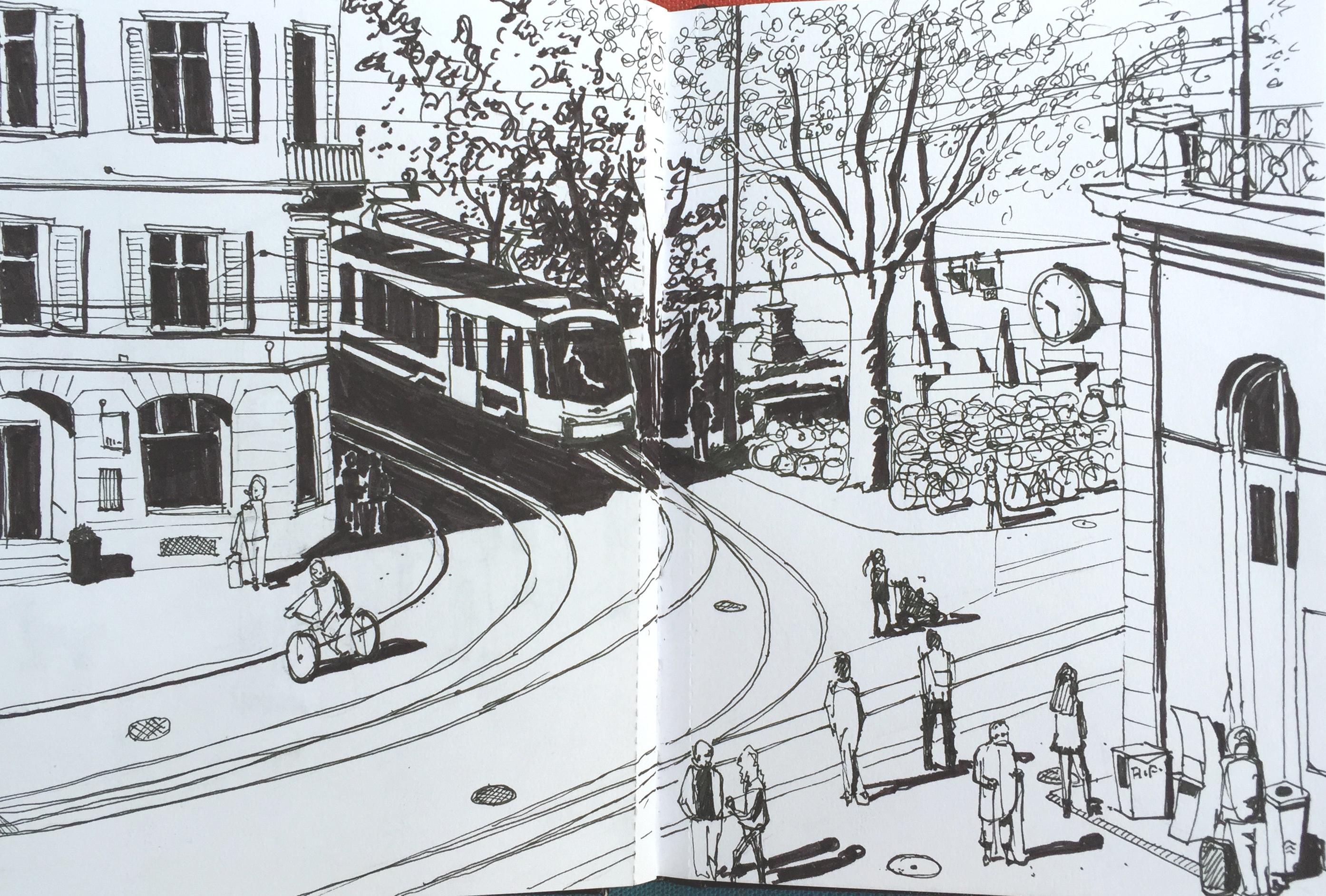 Simone Schauwecker, Bahnhof Stadelhofen, Astrid Amadeo, Urban Sketching, Blogg,