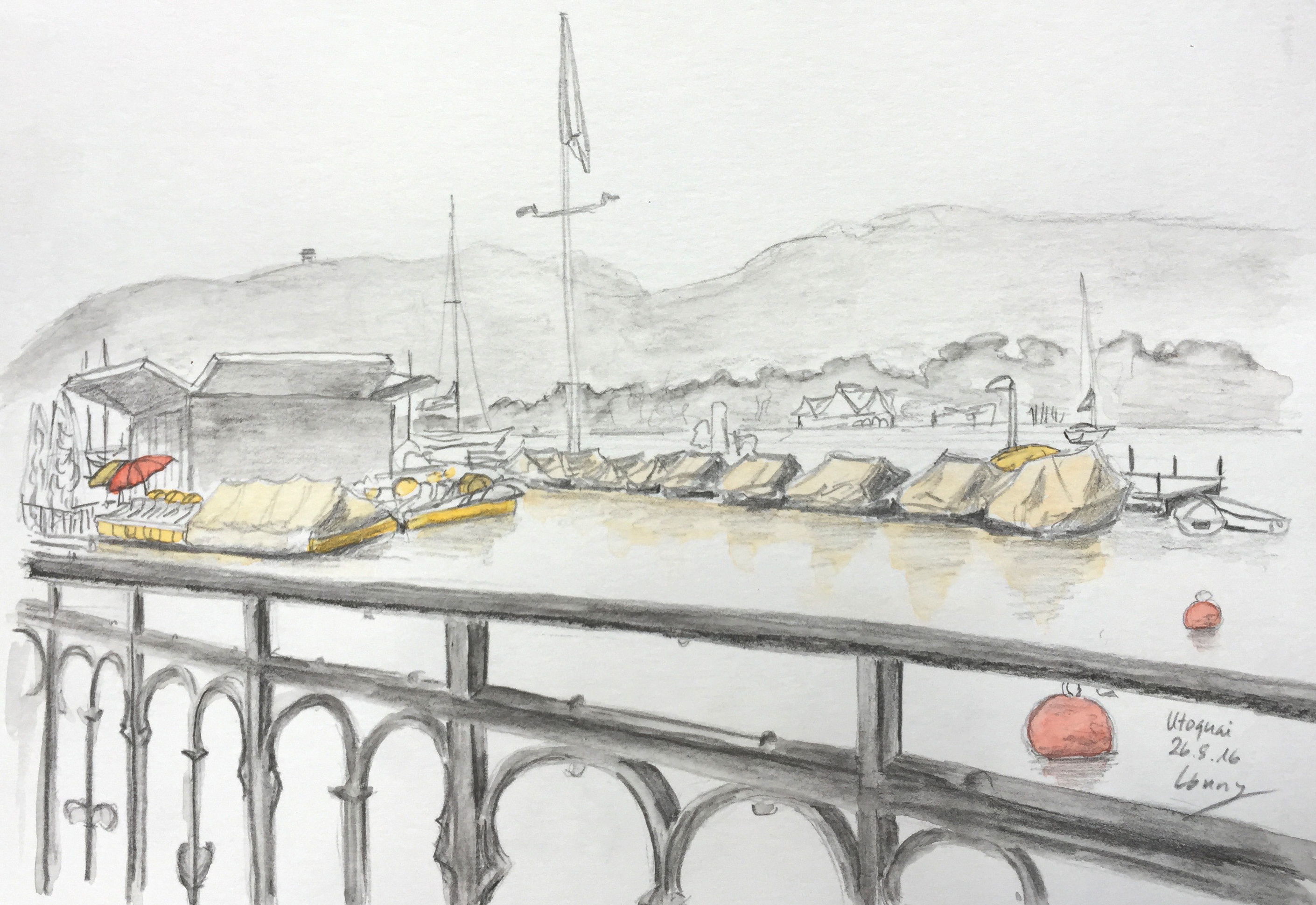 Conny Silaghi, drawing, Lake Zurich,Astrid Amadeo,Summer Academy, Urban Sketching, Blog, Astrid Schmid