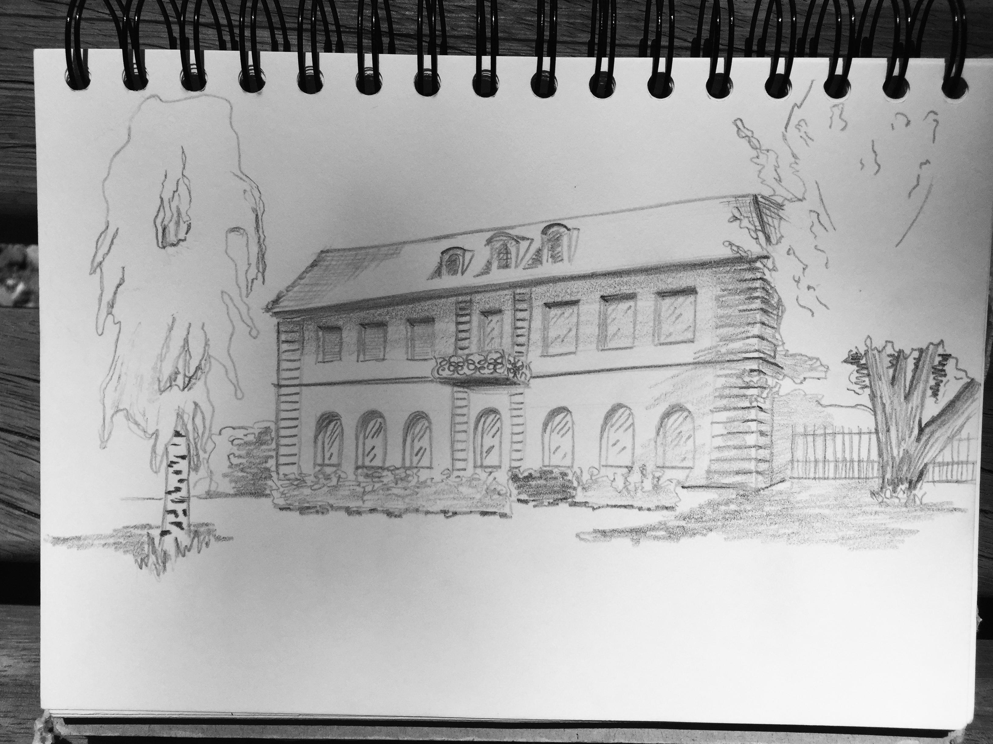 Petra Palm, drawing, Museum Bellerive,Zurich,Astrid Amadeo,Summer Academy, Urban Sketching, Blog, Astrid Schmid
