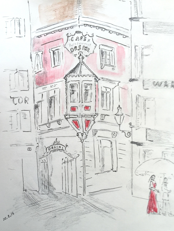 Walter Ruedlinger, Astrid Amadeo, Urban Sketching, Blog, Astrid Schmid, Zeichnen in Zurich, 2016