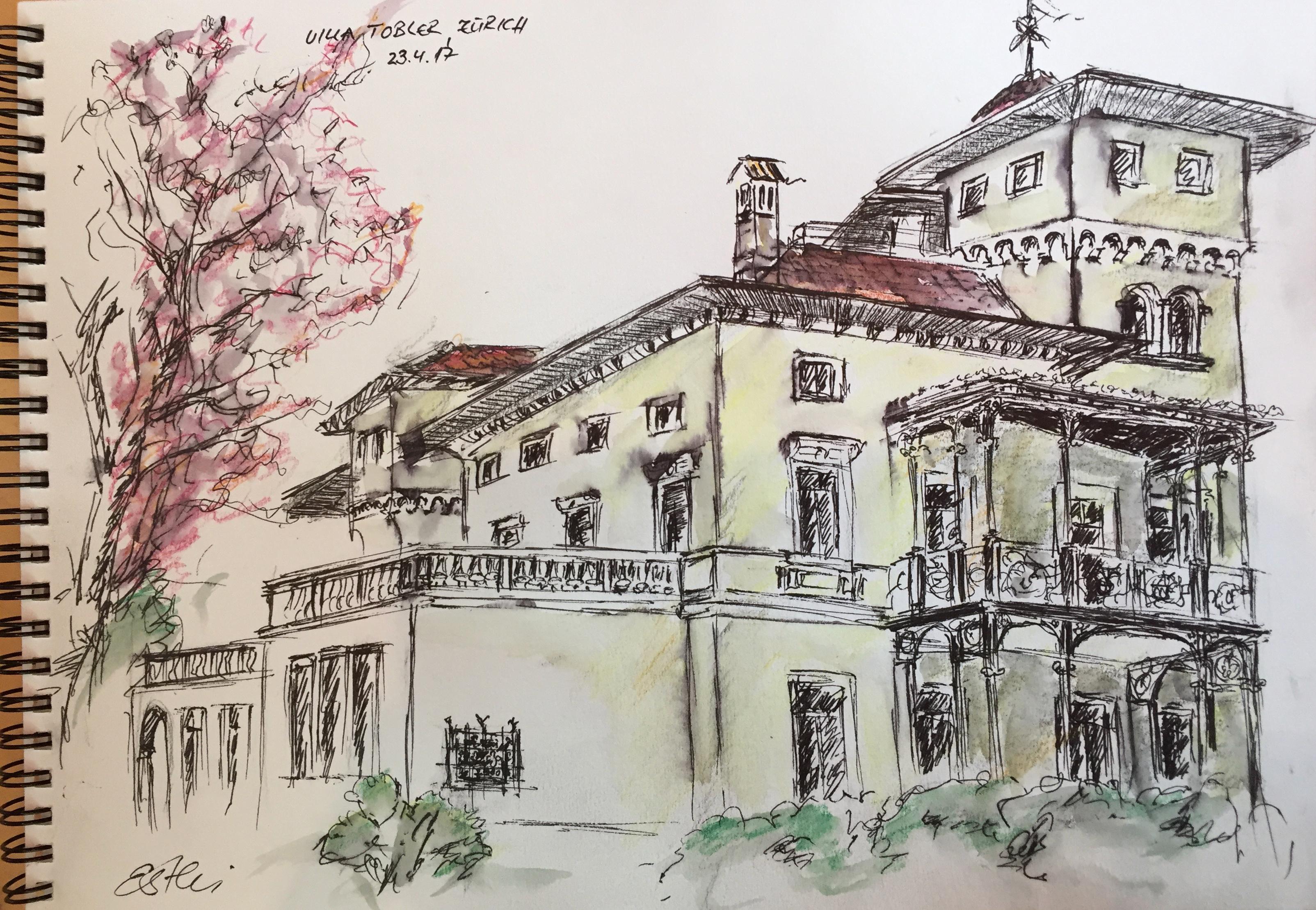 Esther Birchmeier, Villa Tobler_Urban Sketching, 2017,