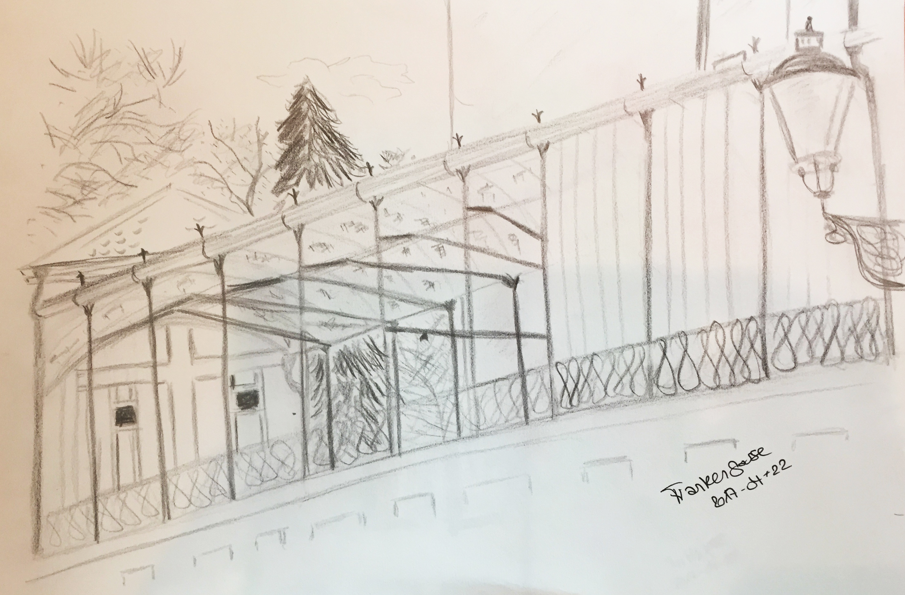 Frankengasse_Urban Sketching, 2017, Bleistiftzeichnung